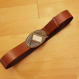 Chicos Belt Brown Leather Wide Buckle Rhinestone
